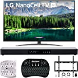 "LG 65"" 65SM8600PUA 4K HDR Smart LED NanoCell TV w/AI ThinQ 2019 Model with Home Theater 31"" Soundbar, Wireless Backlit Keyboard, Flat Wall Mount Kit & SurgePro 6-Outlet Surge Adapter"