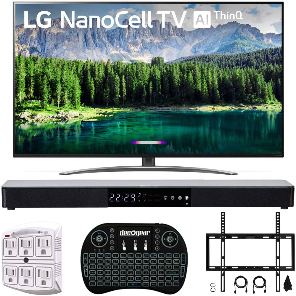 "LG 65"" 65SM8600 4K HDR Smart LED NanoCell TV w/AI ThinQ 2019 Model (LG65SM8600PUA 65SM8600PUA 65SM8600P) with Home Theater 31"" Soundbar, Wireless Backlit Keyboard, Flat Wall Mount Kit & SurgePro 6"
