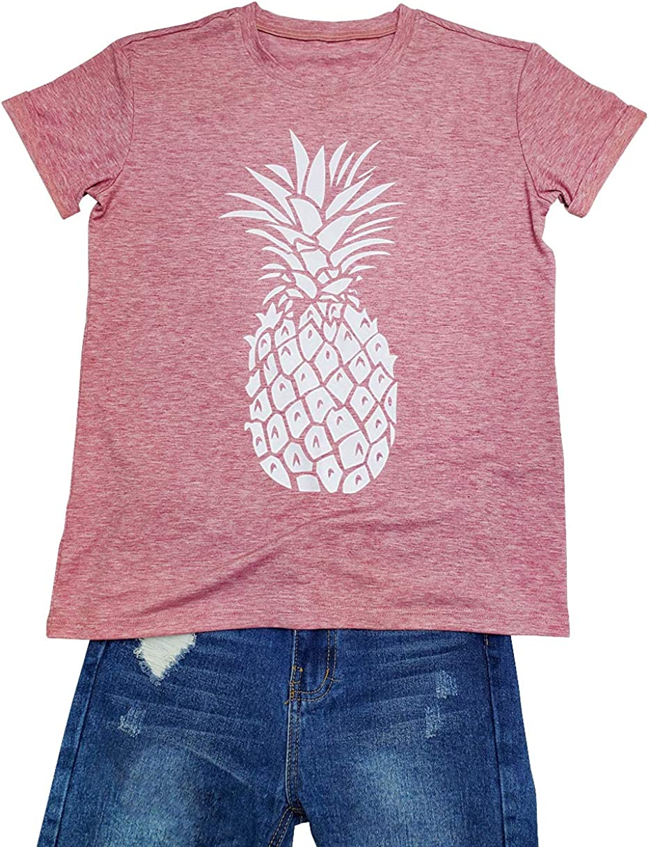 Qcyuui Pineapple Print T Shirt Summer Fruits Fans Tee Women's Casual Short Sleeve Top Blouse