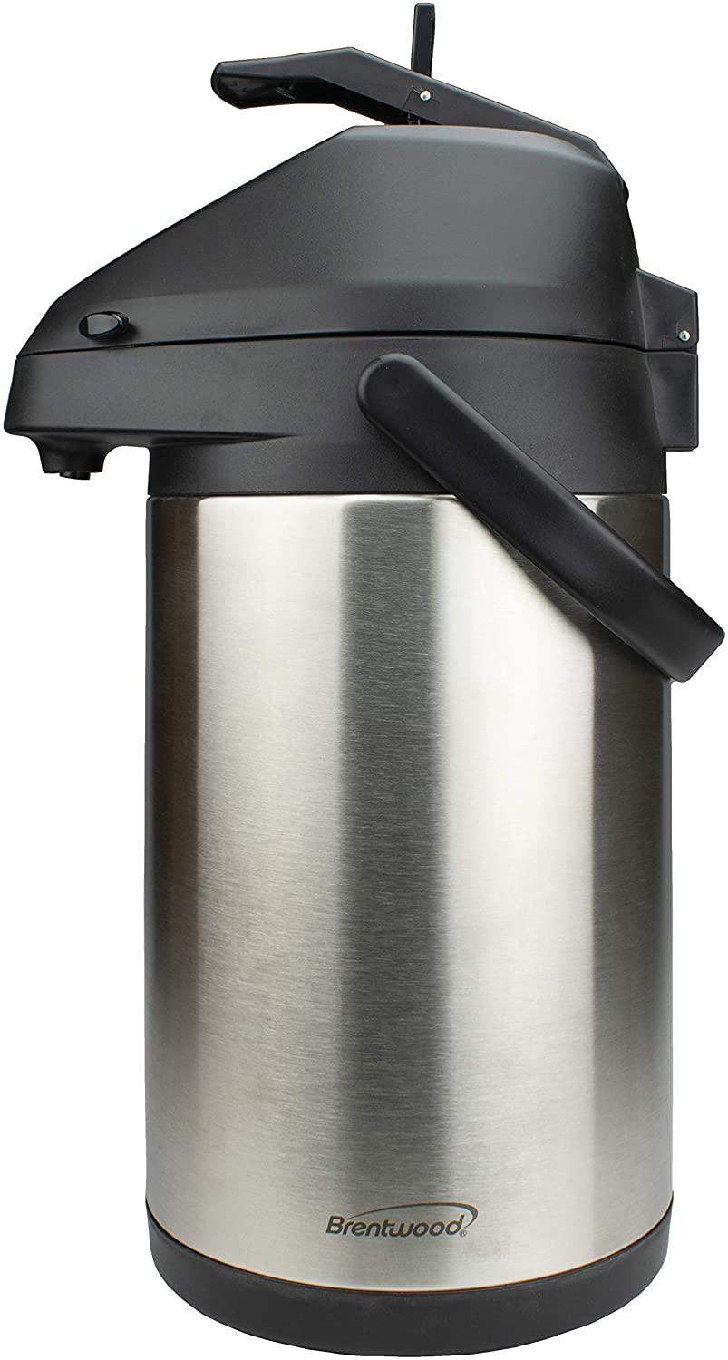 Brentwood 3.5-Liter Airpot Hot & Cold Drink Dispenser, Stainless Steel, Black