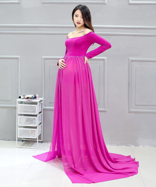 cc87fe5019 Eagsouni Maternity Maxi Chiffon Photography Dress Gown Open Split Front  Long Sleeve for Pregnancy Photo Shoot ...