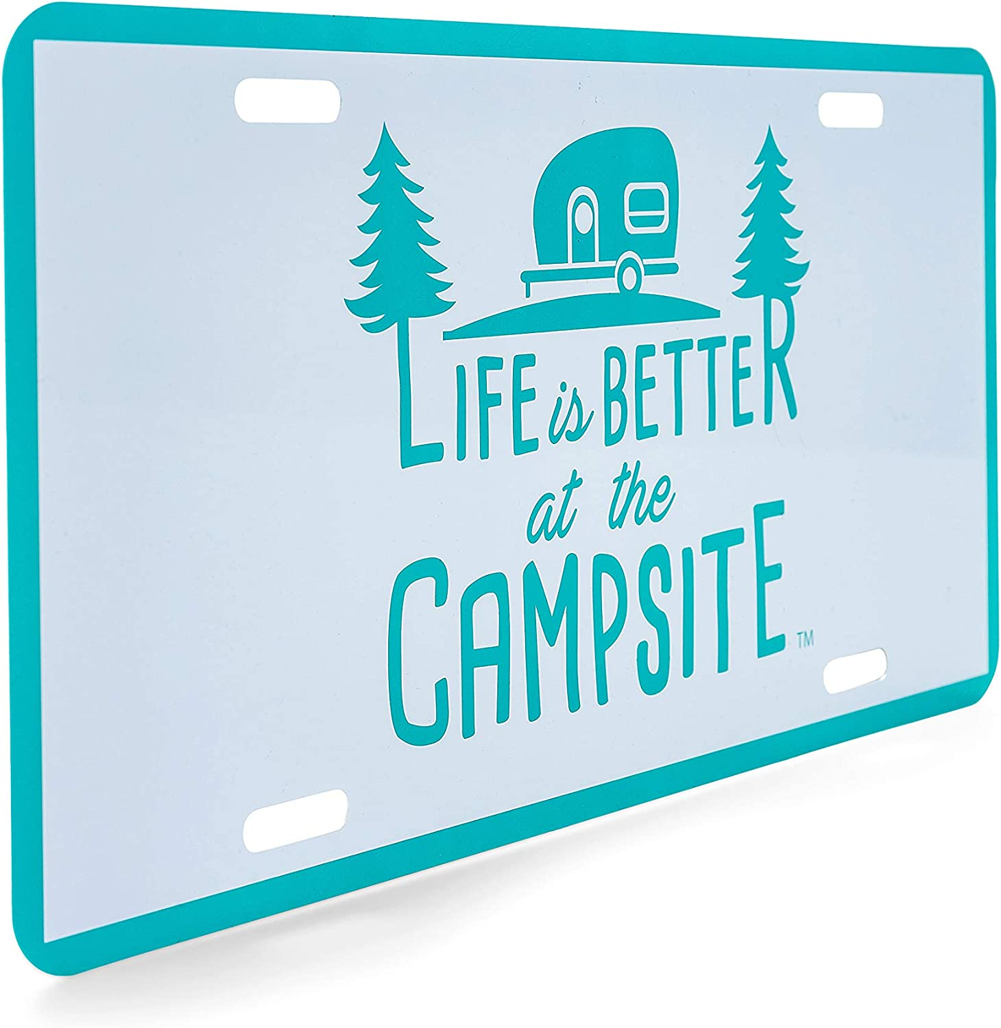 Navy Blue Camco Life is Better at The Campsite Novelty Vehicle Front License Plate-Perfect for RVs Campers and Trailers and More 53250 6 x 12