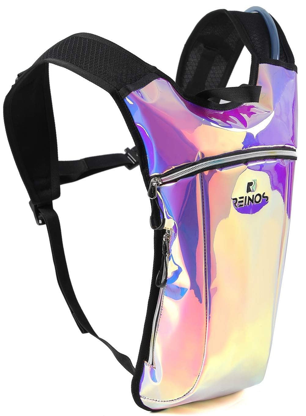 REINOS Hydration Backpack - Light Water Pack - 2L Water Bladder Included for Running, Hiking, Biking, Festivals, Raves (Holographic - Purple) by REINOS