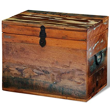 Festnight Reclaimed Solid Wood Storage Box Wooden Trunk Chest Case Cabinet  Container With Handles For Bedroom