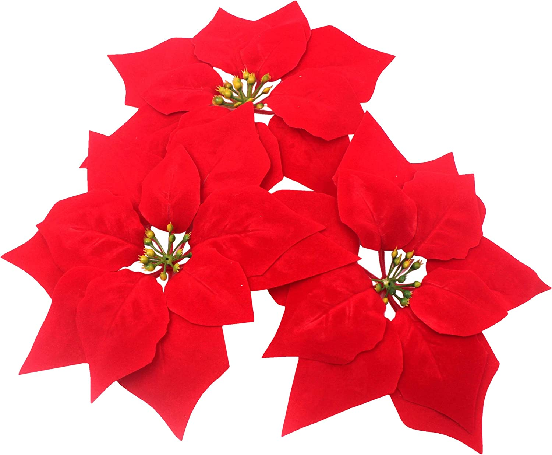 M2cbridge Artificial Christmas Flowers Red Velvet Poinsettia Floral Picks for Christmas Wreath Tree Ornaments(24pcs Red A)