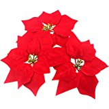M2cbridge Pack of 24 Artificial Christmas Flowers Red Poinsettia Christmas Tree Ornaments Dia 8 Inch 2 Dozen