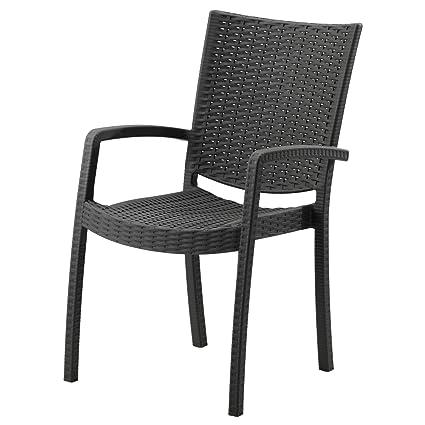 IKEA INNAMO - Silla con brazos, gris oscuro al aire libre ...
