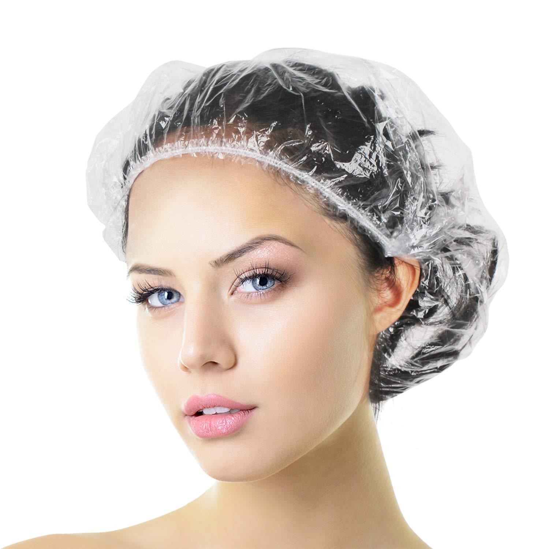 Aquior Shower Cap Disposable, 50 PCS Bath Caps Larger Thick Clear Waterproof Plastic Elastic Hair Bath Caps For Women Kids Girls, Travel Spa, Hotel