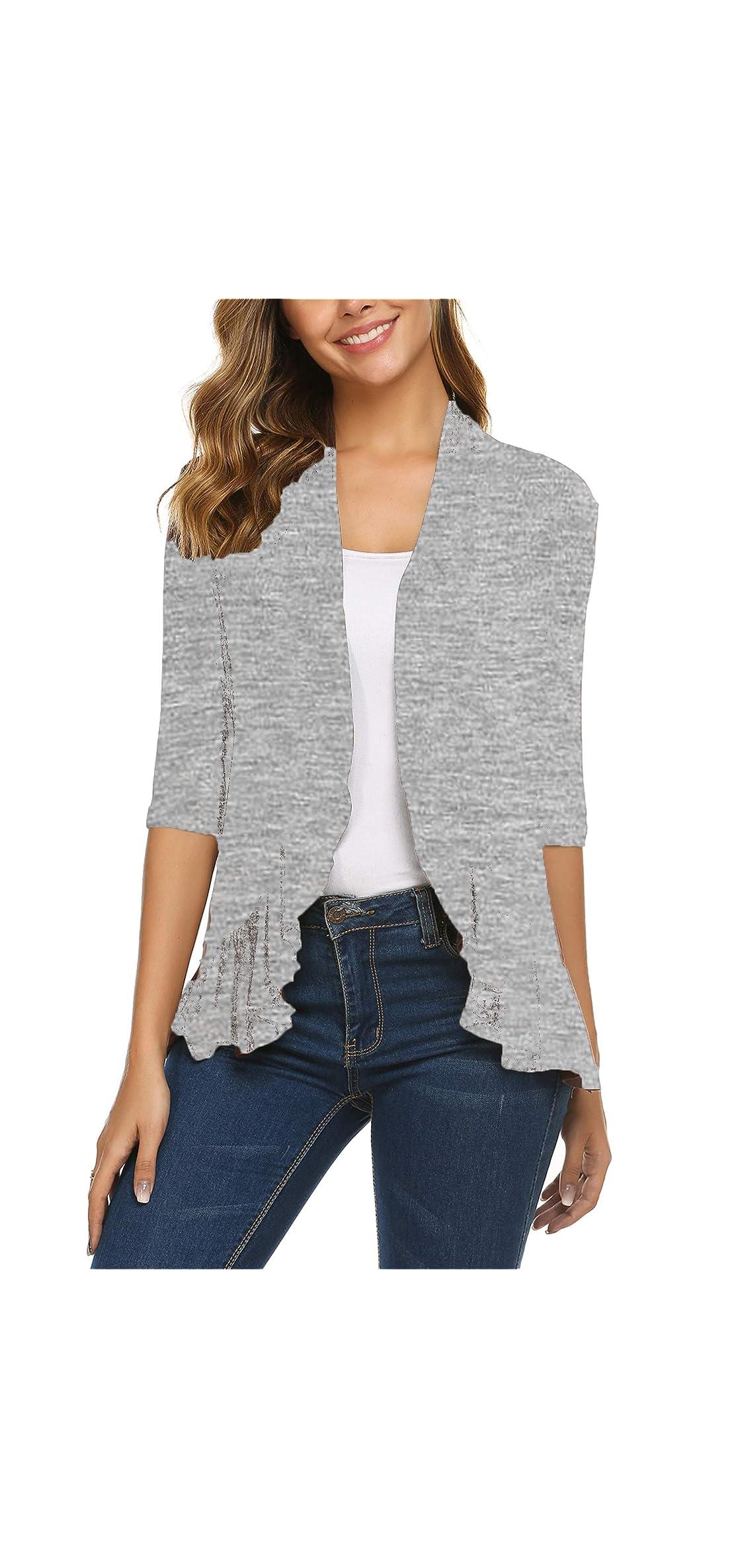 Women's Open Front Cardigan / Sleeve Draped Ruffles