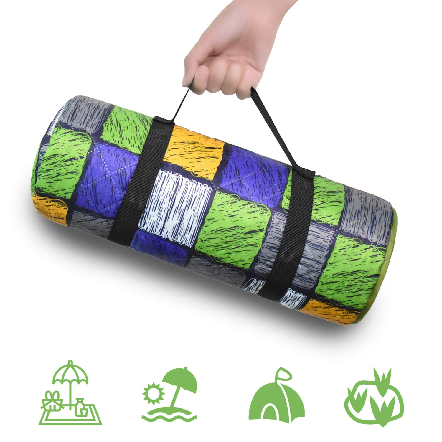 ECOOPRO Extra Large Waterproof Picnic Blanket with Handle, Foldable & Portable Camping Mat, Sandproof Outdoor Blankets for Camping, Beach, Hiking, Grass Travel (79'' L X 57'' W) by ECOOPRO