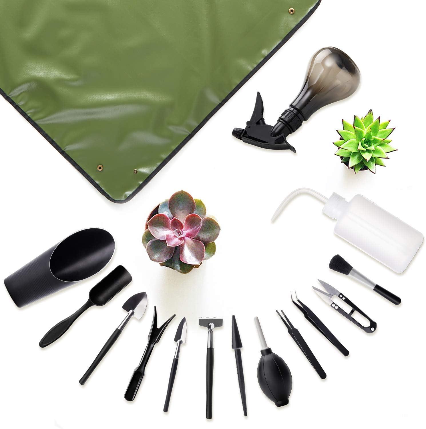 Floridliving Succulent Tools Set, 14pcs Mini Garden Hand Tools + 1 Waterproof & Foldable Plant Repotting Mat, Garden Tool Set Plant Tools for Indoor Miniature Fairy Garden Plant Care