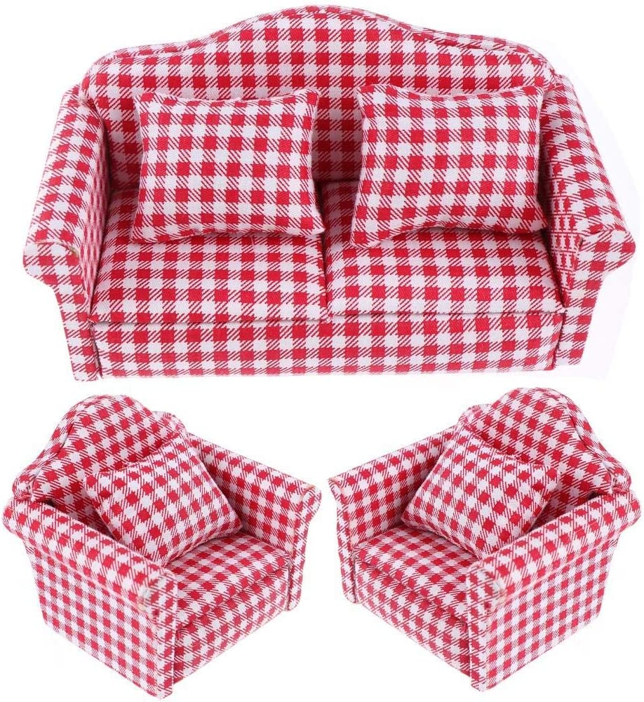 Xgood 3 Packs Dollhouse Sofa Kits Dollhouse Accessories 1:12 Scale Dollhouse Furniture Miniature Sofa Red Stripe Design with Mini Pillows for Dollhouse Handcraft DIY Gifts