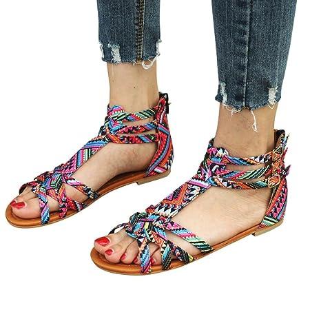 2298027121495 Xinan Femmes Sandales Été Chaussures Plat Mode Bohème Sandales de Style  Ethnique Sandales Plates Chaussures Boucle ...