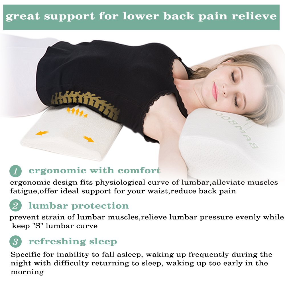Amazon.com: Soft Memory Foam Sleeping Pillow for Lower Back Pain,Multifunctional  Lumbar Support Cushion for Hip,Sciatica and Joint Pain Relief,Orthopedic ...