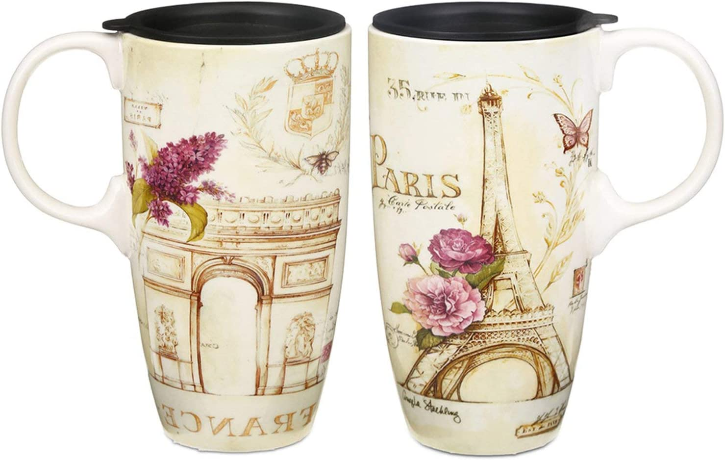 CEDAR HOME Travel Coffee Ceramic Mug Porcelain Latte Tea Cup With Lid in Gift Box 17oz., France Eiffel Tower, 2 Pack