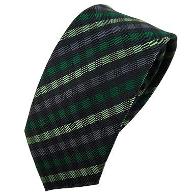 TigerTie - corbata estrecha - verde antracita negro a cuadros ...