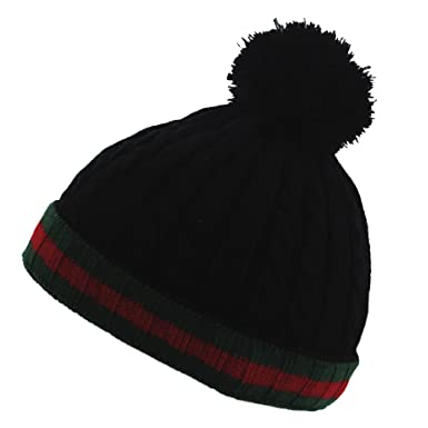 d360b4a69d6 Image Unavailable. Image not available for. Colour  Hana Gucci Colours  Black Red   Green Cable Knit Winter Wooly Beanie Bobble Hat