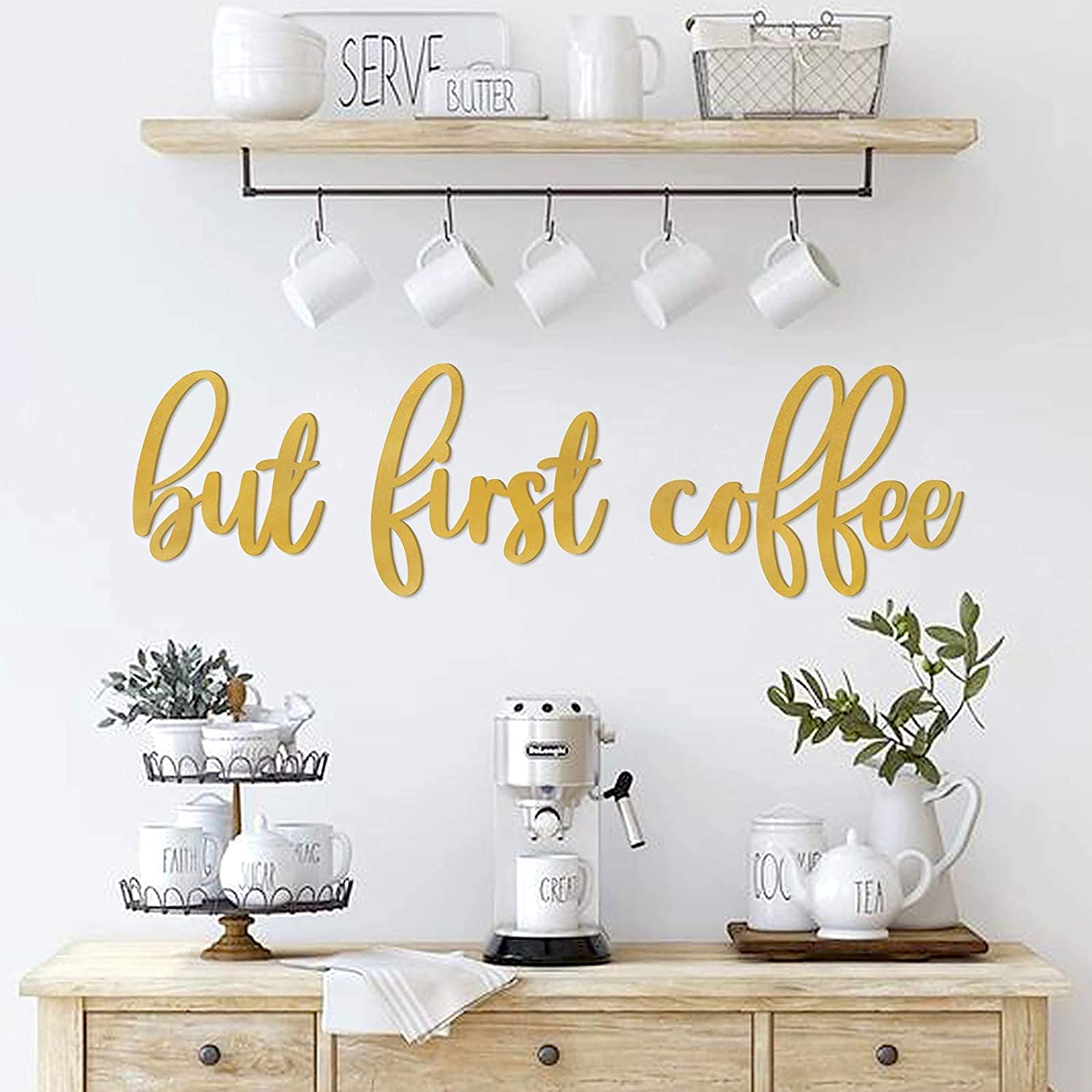 Coffee Bar Kitchen Wall Decor Coffee Wood Signs But First Coffee Words Decorations for Home Decoration Art, Kitchen, Eating Area, Breakfast Nook, Cafe or Restaurants Diner, House Warming Gifts, Gold