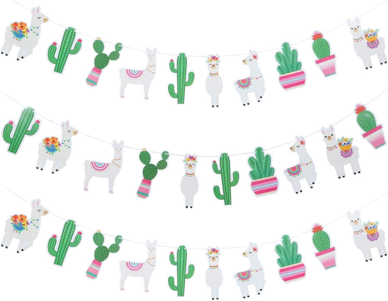 3 Pieces Llama Cactus Banner Garland Llama Party Decoration Cactus Banner for Llama Cactus Themed Birthday Graduation Mexican Fiesta Baby Shower Party Supplies