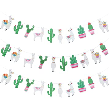 3 Piezas Llama Cactus Banner Guirnalda Llama Decoración de Fiesta Cactus Banner para Llama Cactus Cumpleaños Temática Graduación Fiesta Mexicana ...