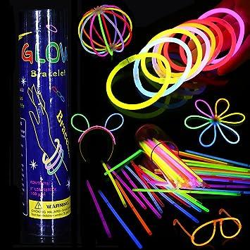 Varitas Luminosas Fluorescentes, 100 Glow Sticks Glow In The Dark Pulseras, Kit de Luz Fluorescentes Brillantes Diversos Colores para Fiestas, Cumpleaños, Bodas (Colores Mezclados): Amazon.es: Electrónica