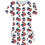 Easter Scrub_Tops for Women Working Uniform T-Shirt Bunny Eggs Printed Short Sleeve V-Neck Pocketed Holiday Shirt Tops
