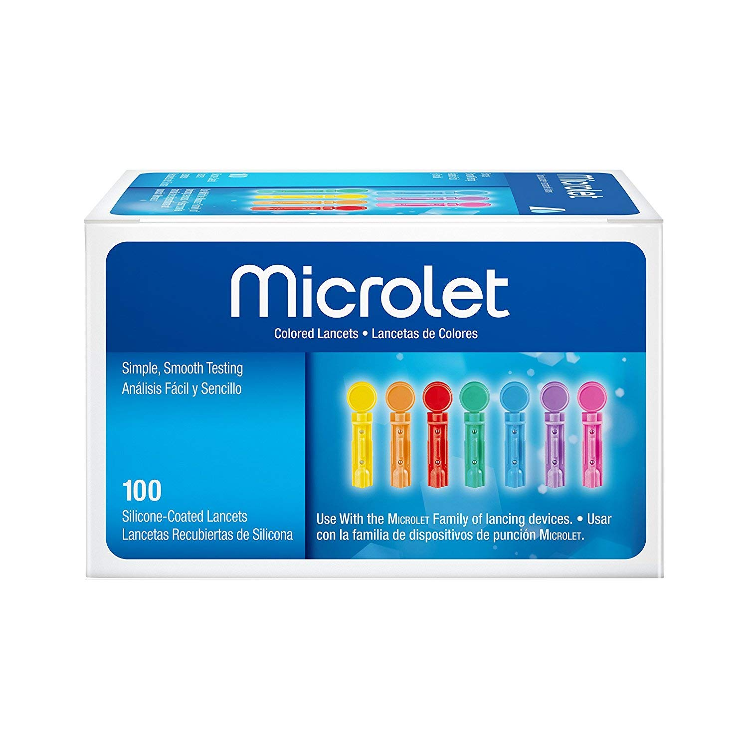 Bayer Microlet Colored Lancets, Silicon Coated - 100 ct, Pack of 5 by Microlet