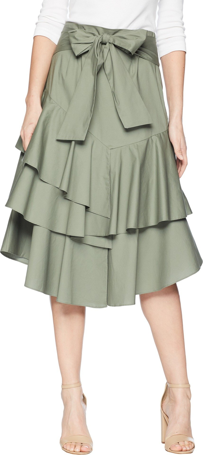 Vince Camuto Womens Tiered Ruffle Belted Poplin Skirt Camo Green 6 One Size
