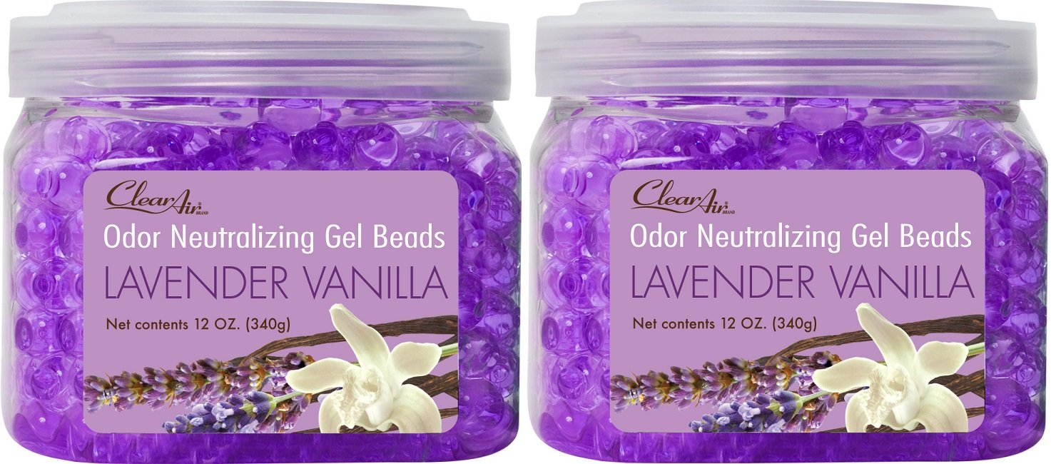 Clear Air Odor Eliminator Gel Beads - Eliminates Odors in Bathrooms, Cars, Boats, RVs and Pet Areas - Air Freshener Made with Natural Essential Oils - 2 Pack (2 x 12 OZ) (Lavender Vanilla) by Clear Air (Image #1)
