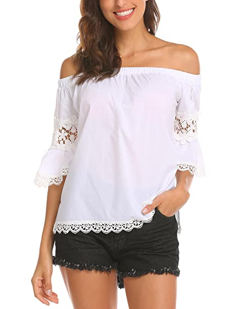 3e9c90dc99b40 Dealwell Women s Sexy Off The Shoulder Tops Lace Trim Bell Sleeve Blouse T- Shirt at Amazon Women s Clothing store