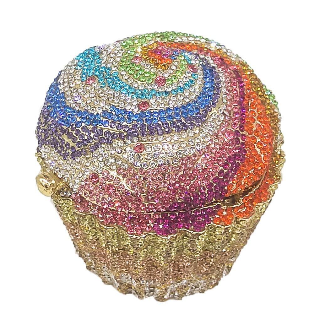 Cupcake Crystal Clutch Evening Bags Wedding Party Bridal Diamond Minaudiere Handbag Clutches Purse (5)