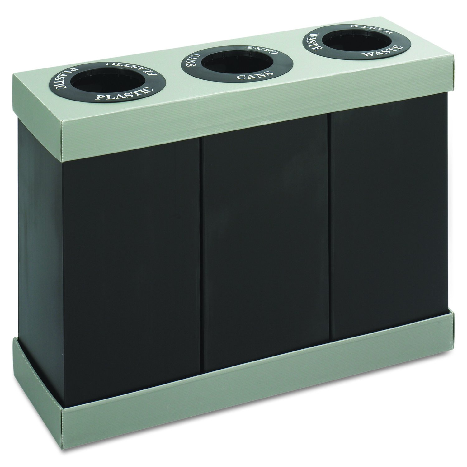 Safco Products 9798BL At-Your-Disposal Waste Recycling Center, Three 28-Gallon Bins, Black