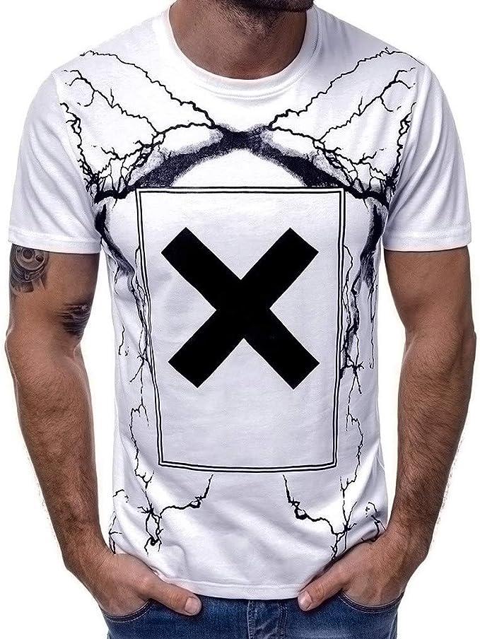 Xmiral Maglietta Top Maglietta Uomo Casual Primavera Estate Stampa Manica Corta O-Collo Top Camicetta T-Shirt