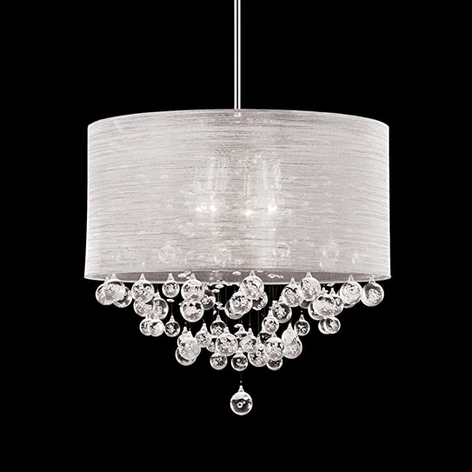Round Drum Silk Shade 4 Lamp Pendant Crystal Ceiling Light Chandelier Dia 21 X H 20 Com