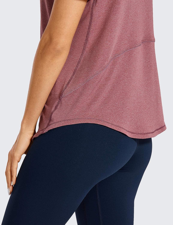 CRZ YOGA Womens Lightweight Heather Loose Fit Short Sleeve Sport Shirt Workout Top