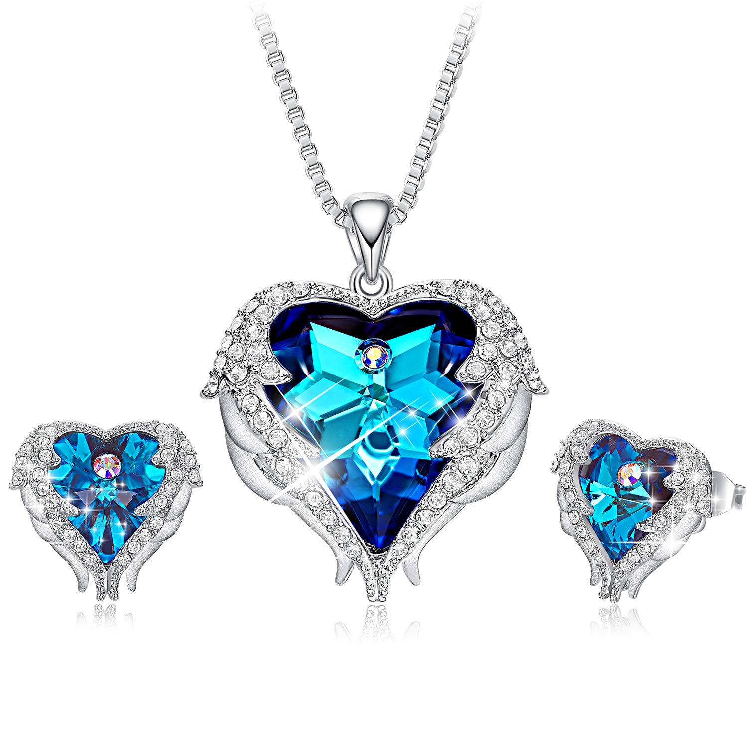 CDE Angel Wing Crystal Stud Earrings Blue Heart of Ocean Pendant Silver Necklaces Jewelry Set for Women, Crystals from Swarovski