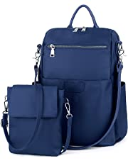 UTO Women's 3 Ways Oxford Casual Backpack Shoulder Bag Handbag Totes with Anti Theft Pocket Detachable Cross Body Bag Shoulder Strap Blue