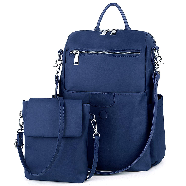 UTO Women Backpack Purse Oxford Waterproof Cloth Nylon Ladies Rucksack Detachable Crossbody Shoulder Bag B Blue