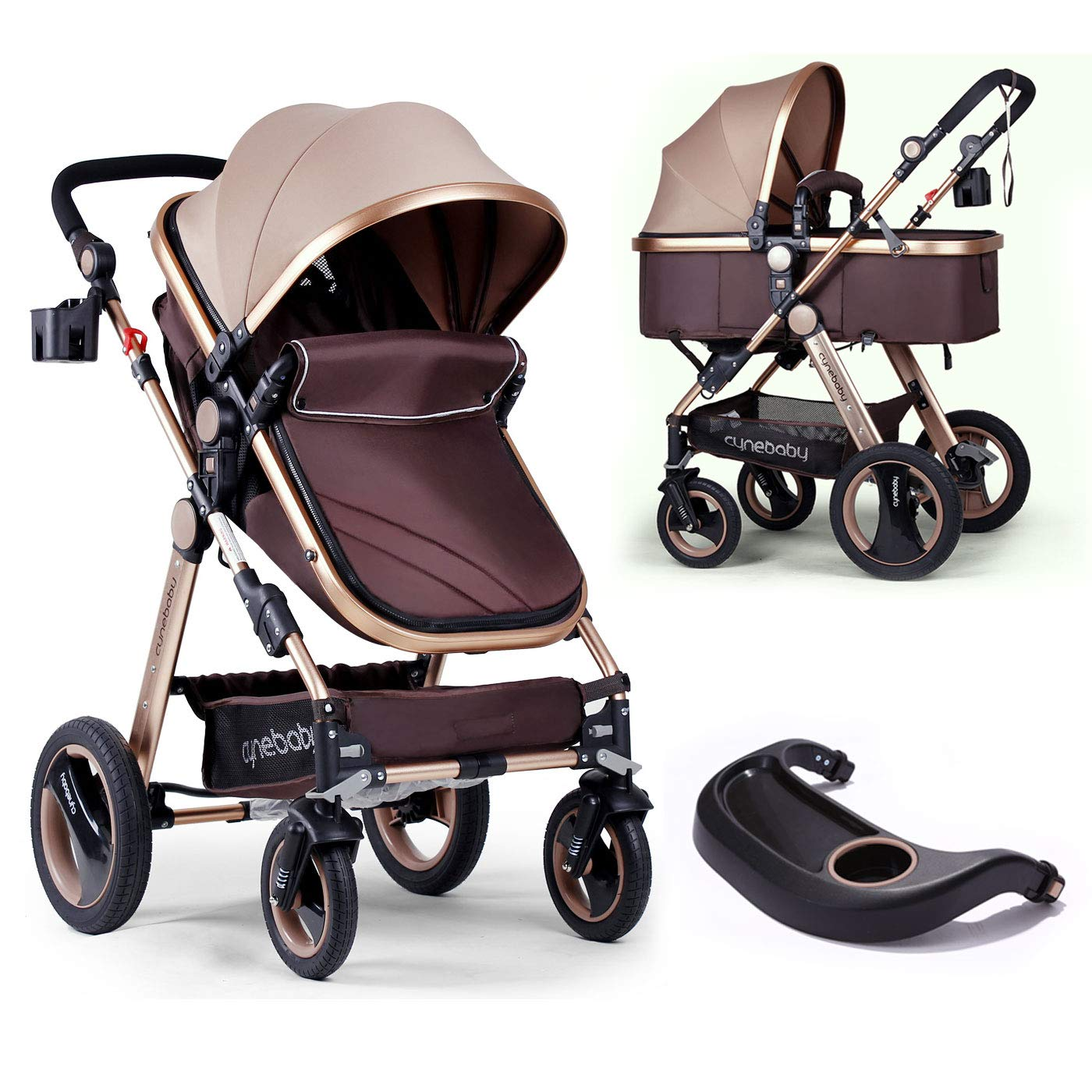 Infant Baby Stroller For Newborn And Toddler Cynebaby Convertible Bassinet Stroller Compact Single