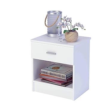 Samblo Nami - Mesita de noche de melamina con cajón varios colores de 44 cm de ancho, color blanco: Amazon.es: Hogar