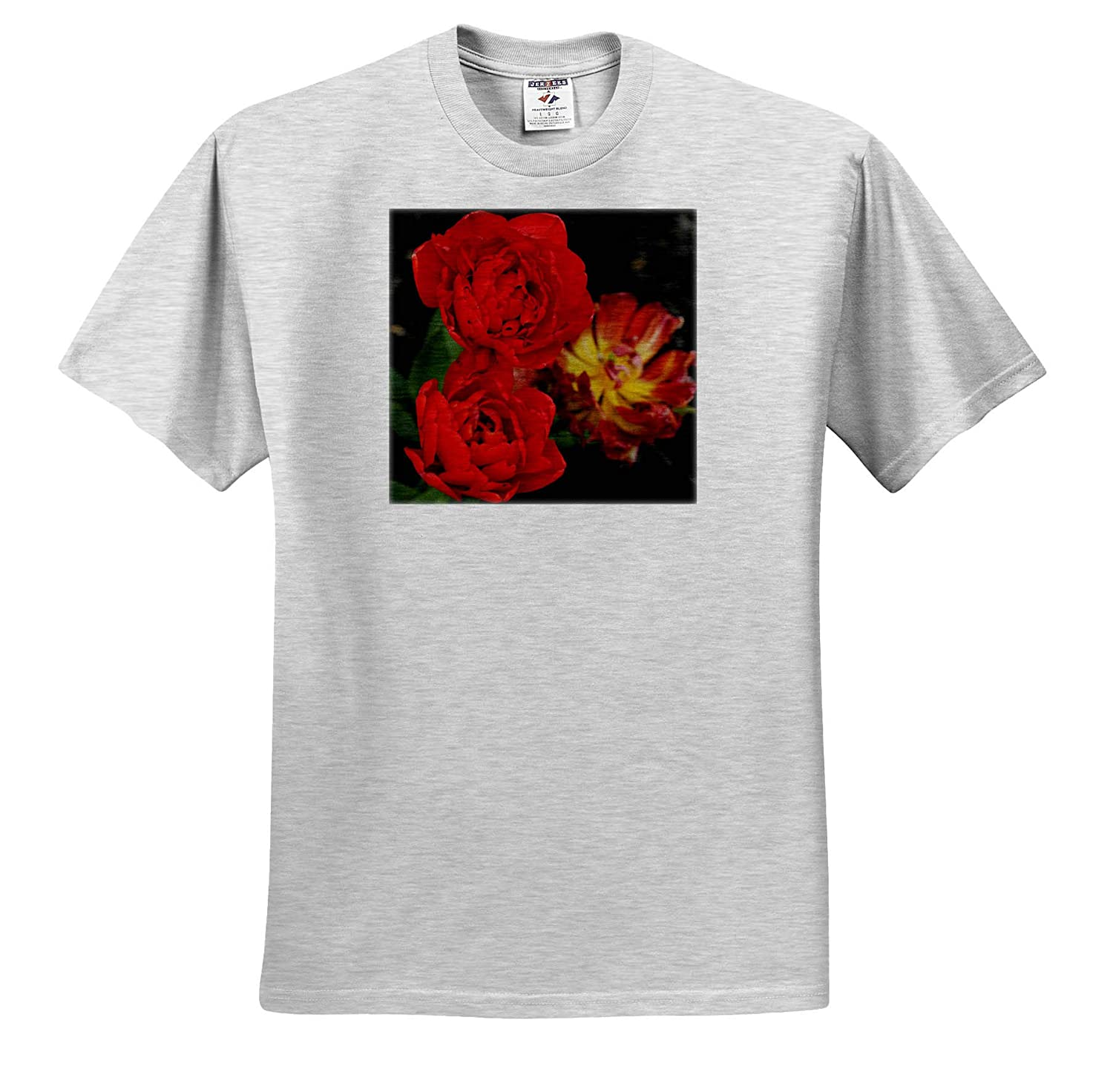 Flowers 3dRose Stamp City A Photograph of Three Stunning Double Late Mixed Tulips - Adult T-Shirt XL ts/_309907