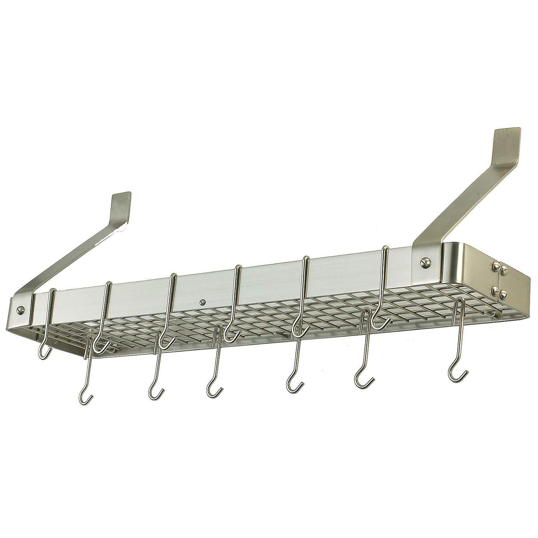 MISC 12フック ポットラック 壁取り付け ハンギングオーガナイザー フライパン/キッチン/調理器具ホルダー用 スチールサテンニッケル   B07PQTLGBJ