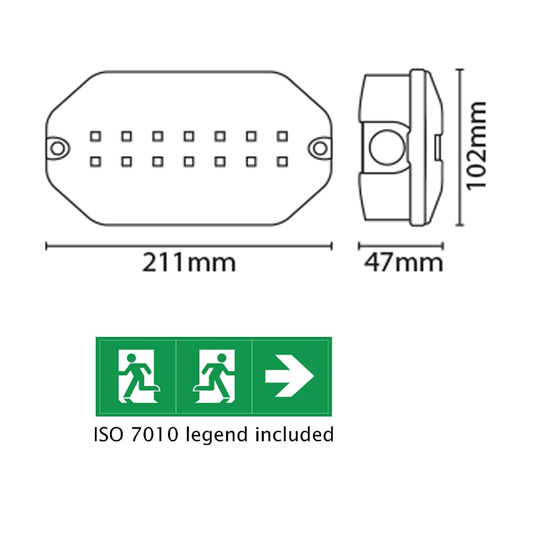LED 3.5 Watt Compact IP65 Emergency Bulkhead Complete With Legend Set 24Hr Sale!