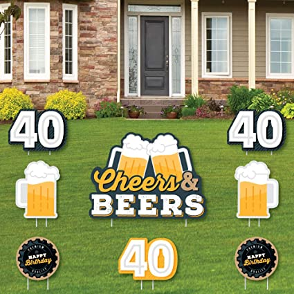 Amazon.com : Big Dot of Happiness Cheers and Beers to 40 Years - Yard Sign  and Outdoor Lawn Decorations - 40th Birthday Party Yard Signs - Set of 8 :  Garden & Outdoor