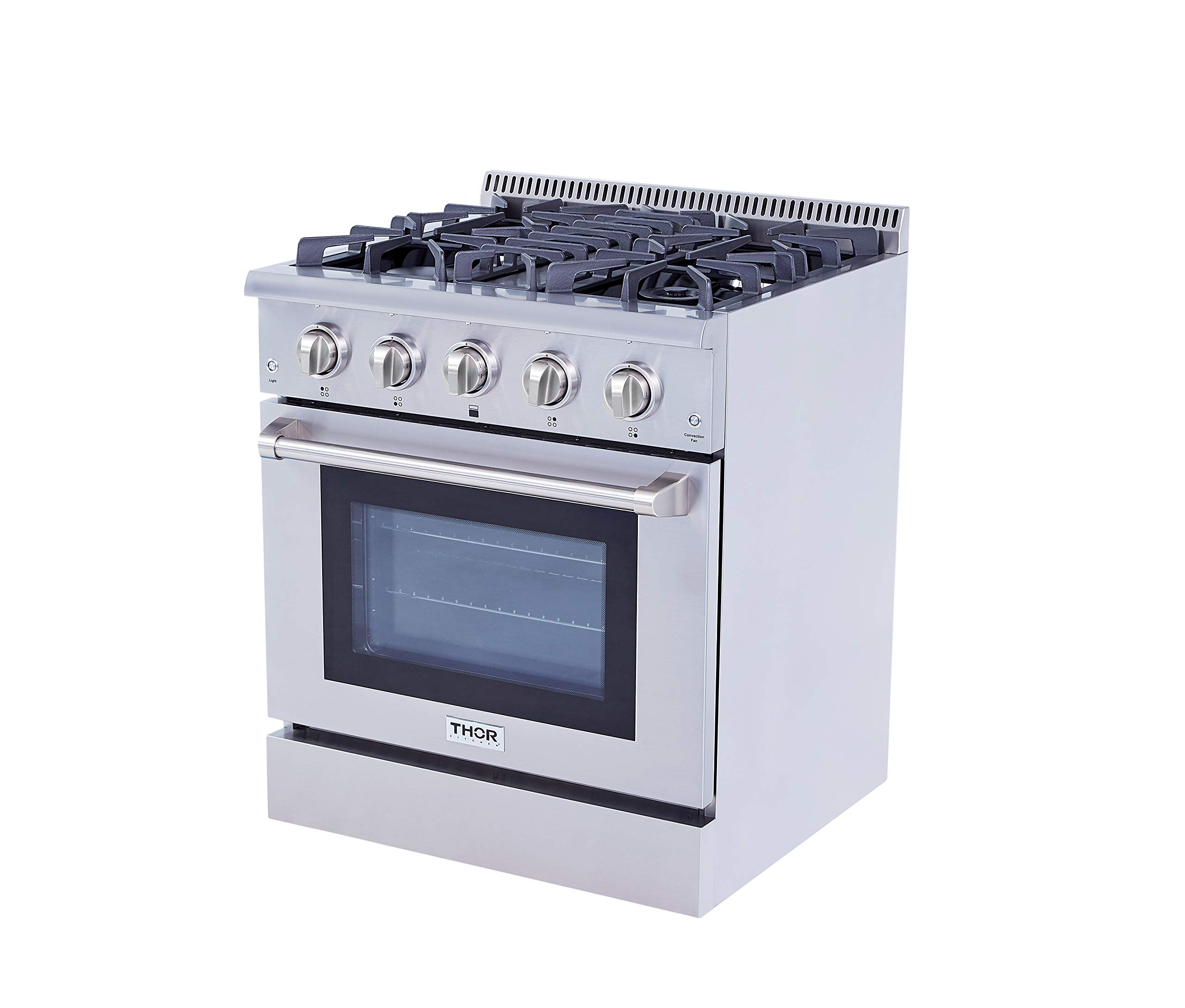 Thor Kitchen 30'' Dual Fuel Range 4 Burner Gas Range Freestanding 4.2 cu. ft. Electric Gas Convection Oven Stainless Steel Automatic re-Ignition Built-in Pro-style HRD3088U