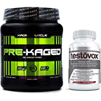 Pre-Kaged Pre Workout (20 Servings) and Testovox (60 Capsules) - Extreme Muscle Building Bundle | Performance Enhancing…