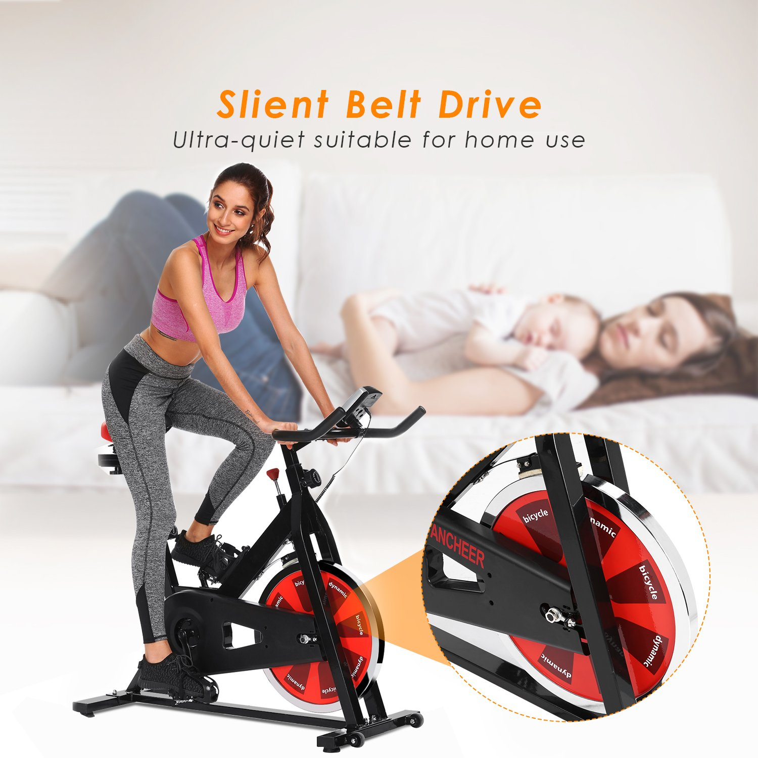 ANCHEER Stationary Bike, Indoor Cycling Exercise Bike 40 LBS Flywheel (Black_NO Pulse) by ANCHEER (Image #3)