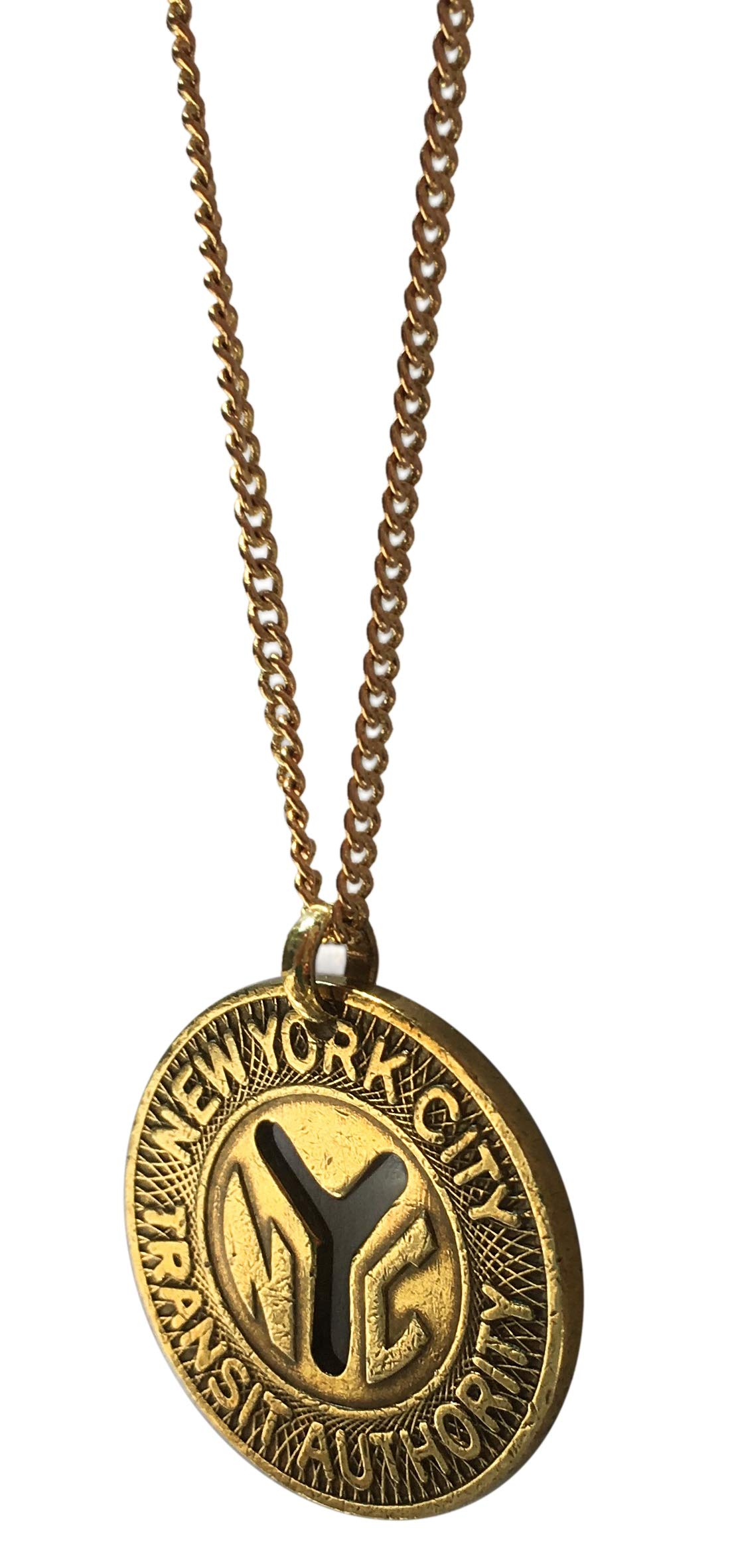 Worn History Authentic NYC Large Y (1970-1979) Subway Token Necklace (30'')