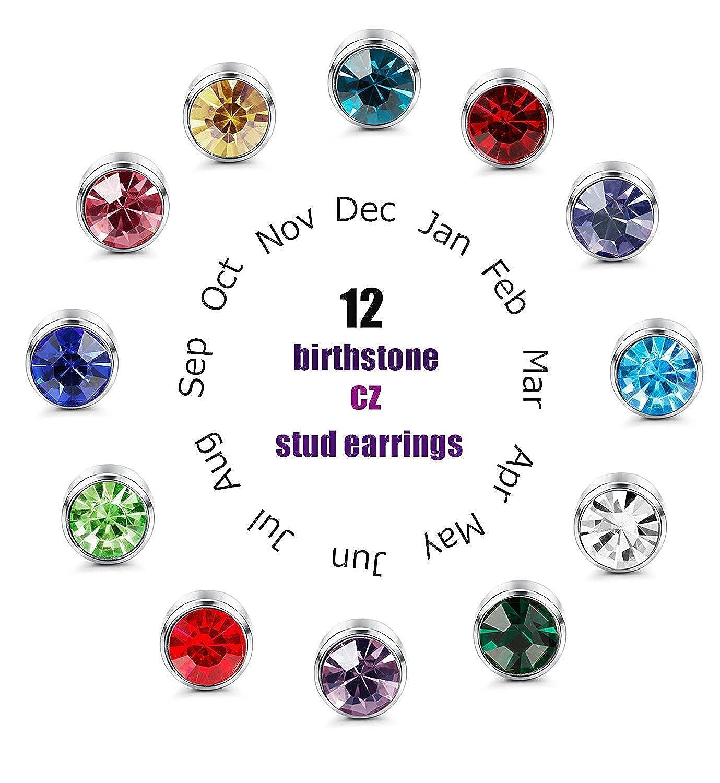 2104ad0e2b8d BESTEEL 12Pares Acero Inoxidable Pendientes Redondos para Mujer Niña Hombre  Birtistone Pendientes Stud Aretes Circonita 4
