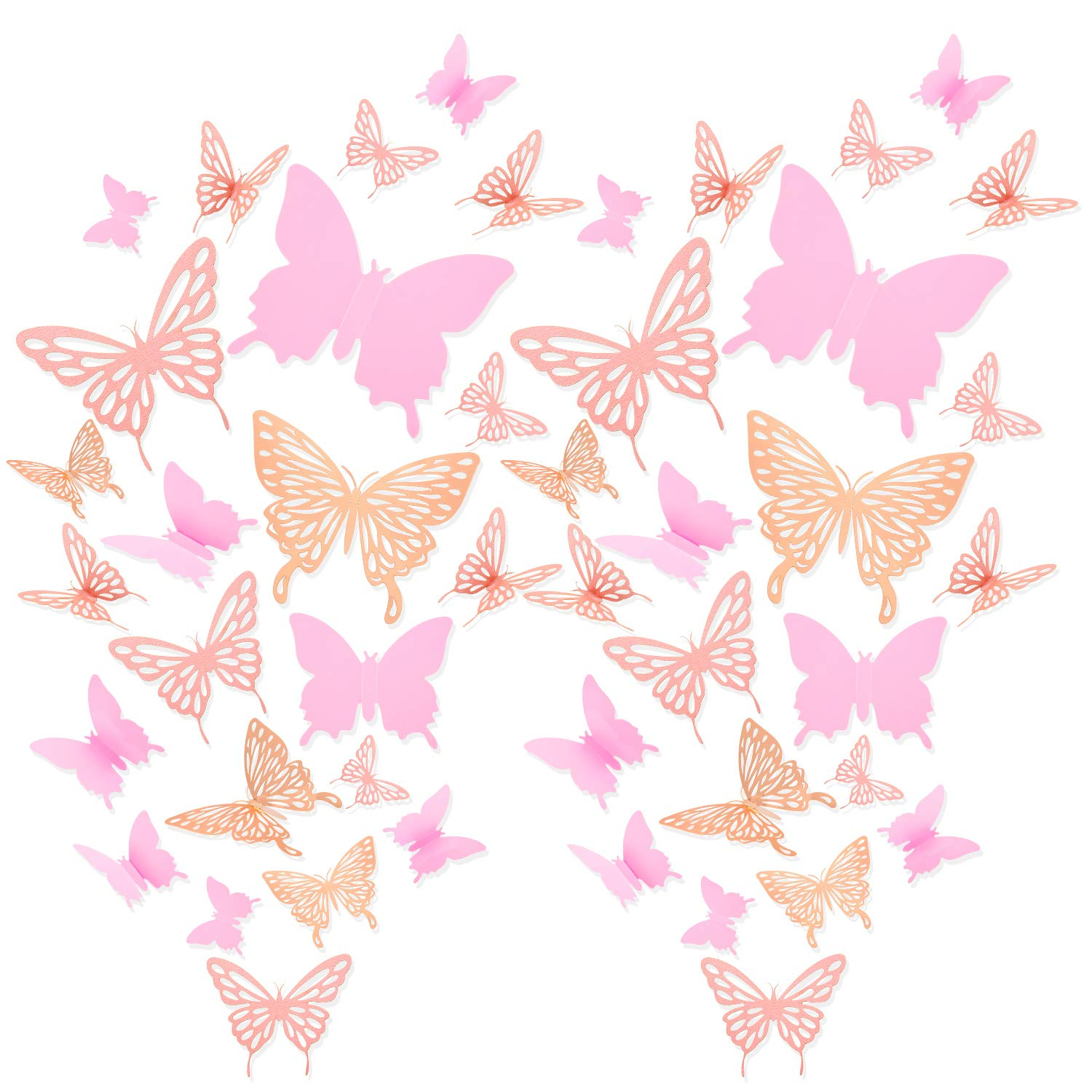196 Pieces 3D Butterfly Wall Decoration Sticker Hollow Metallic Butterfly Decor Paper Butterflies Decor Mural Decal DIY Butterfly Wall Art Craft for Bedroom Wall Wedding, 3 Styles (Rose Gold, Pink)